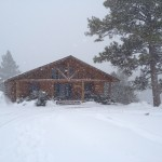 Our cabin in the snowstorm
